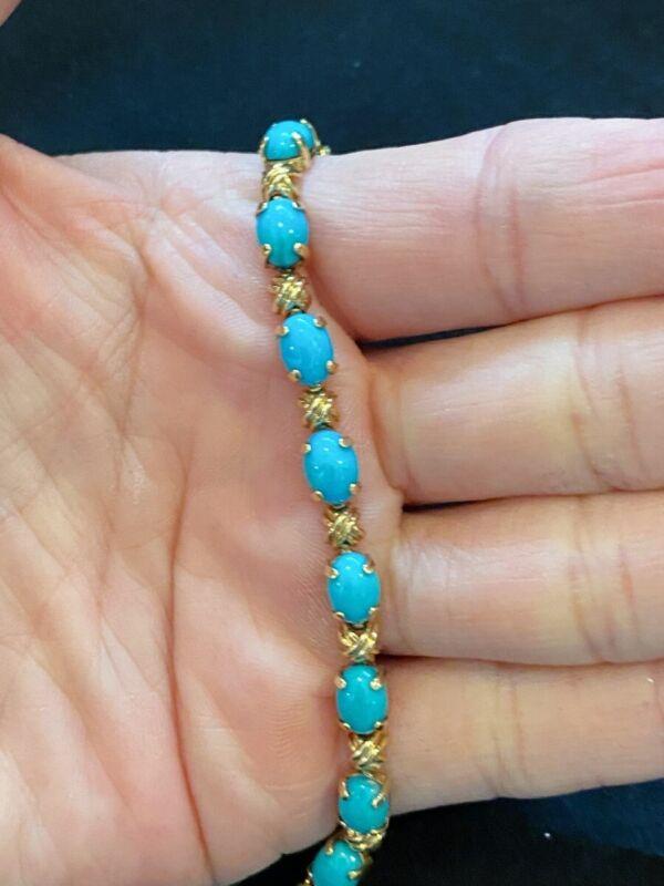 """Fine Vintage 14k Gold Turquoise Line Bracelet 7"""" 9 gms"""