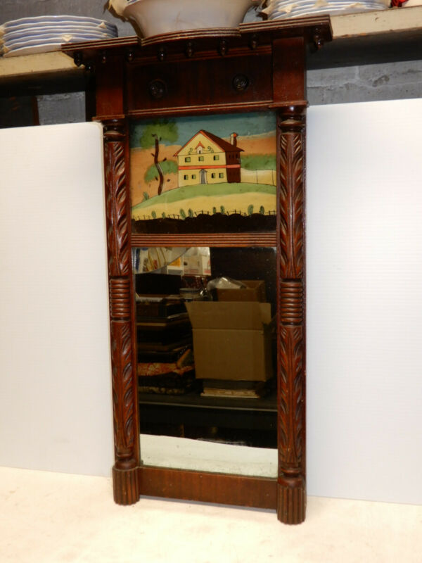 ANTIQUE MAHOGANY AMERICAN FEDERAL WALL MIRROR REVERSE PAINTED