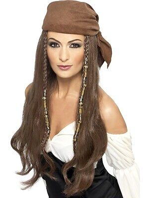 Womens Long Brown Pirate Wig with Bandana Beaded Braids Halloween Costume Adult (Costumes With Bandanas)