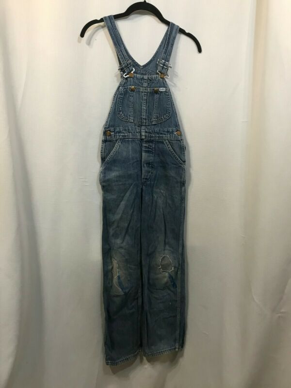 Vtg 50s Denim Lee Overalls Donut Brass Button Fly Distressed Patches AS IS Farm