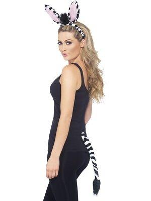 Erwachsene Zebramuster Kostüm Instant Satz Damen Tier Satz Schwanz & Stirnband (Zebra Schwanz Kostüm)
