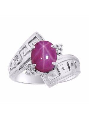 Diamond & Star Ruby Ring Set In Sterling Silver - Greek Key Design - Color (Ruby Greek Key Ring)