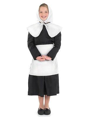 GIRLS PURITAN PILGRIM ROUNDHEAD AMISH STEWARTS FANCY DRESS COSTUME