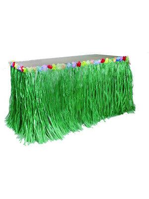 Green Grass Hibiscus Flower Wedding Beach Hawaiian Luau Tiki Party Table Skirt