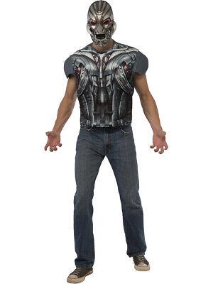 Marvel Villain Costumes (Adult's Mens Marvel Avengers 2 Ultron Villain Robot T-Shirt And Mask)