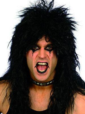 Kiss Schwarz Rocker Perücke Alice Cooper 80er Jahre Heavy Metal Simmons Kostüm