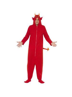 Kostüm Overall mit Kapuze Teufel Rot, Gr. S