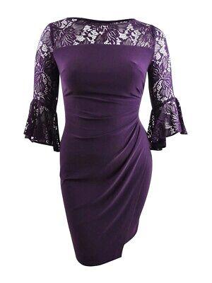 Lauren by Ralph Lauren Women's Lace-Trim Dress 16, Purple