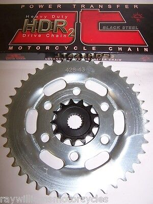KSR GRS 125 JT HDR HEAVY DUTY CHAIN & GENUINE FRONT AND REAR SPROCKET KIT