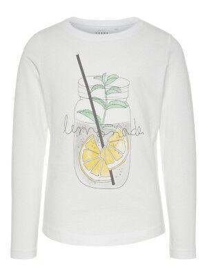 NAME IT Mädchen Langarmshirt NKFVeen weiß Lemonade Größe 122/128 bis 158/164