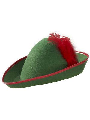 Green Elf Hat (Mens Green Red Robin Hood Peter Pan Elf Costume)