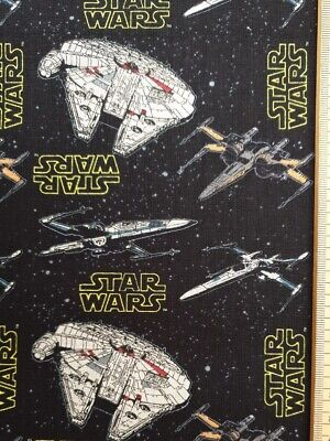 Star Wars fabric 100% cotton material metre space ships Millennium falcon X-Wing