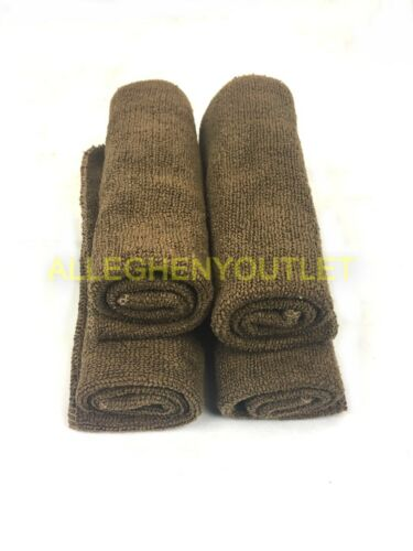 "QTY (4) - US Military 100% Polyester Microfiber 12""x12"" Bath Washcloth Brown LN"