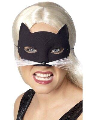 Katze Augenmaske Schwarz Schnurrhaare Halloween Maskenball Damen Verkleidung Neu