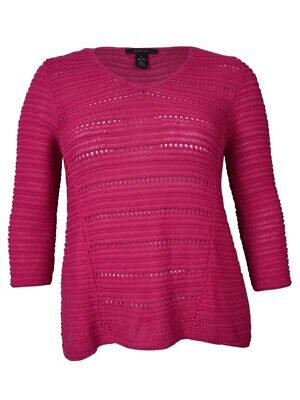 Plain Pinata (Style & Co. Women's Sheer Knit V-Neck Sweater (L, Pink)