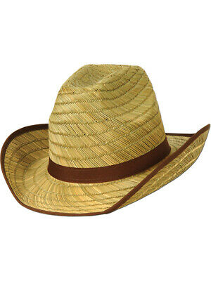 Adults Country Western Farm Hand Woven Wicker Cowboy Hat Costume Accessory - Country Western Costumes