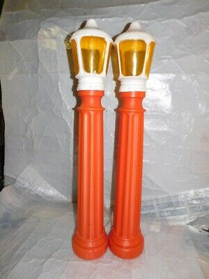vintage set blow mold plastic christmas candles outside decorations old holiday