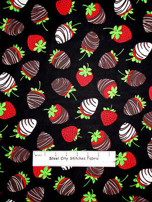 Timeless Treasures Chocolate Covered Strawberries Strawberry Cotton Fabric Yard