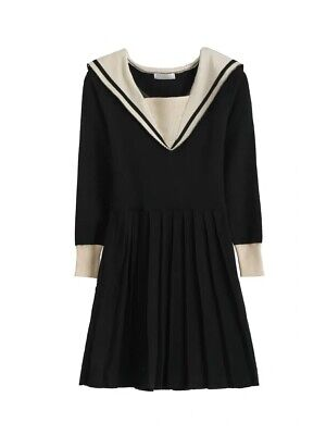 Women's Super Cute Black Sailor Collar Sweater Dress Size S M
