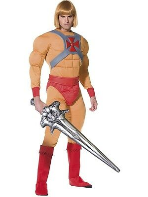 He-Man Masters of Universe Superhero Fancy Dress Costume Adult 80's Outfit & Wig