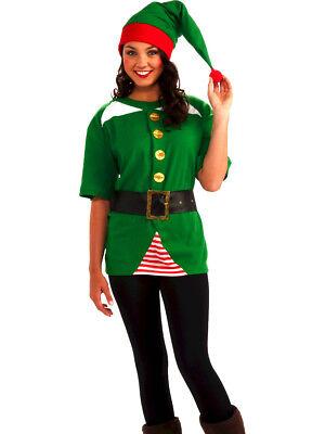 Adult Christmas Santas Helper Toy Shop Jolly Elf Hat Shirt Belt Costume Kit