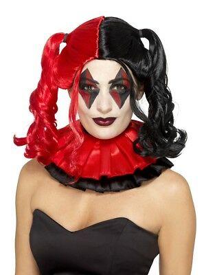 Twisted Harlequin Wig Adult Costume Accessory, Black and Red (Harlequin Wig)