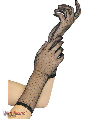 LADIES BLACK LACE GLOVES BURLESQUE SALOON GIRL CAN CAN 1920's CHARLESTON - Lace Flapper Kostüm