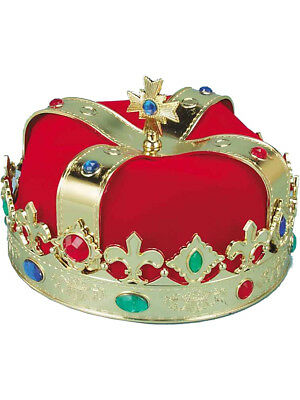 Red Royal Regal King Gold Bejeweled Crown Headpiece Hat