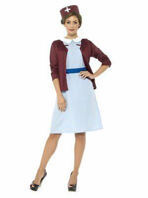 Smiffys Vintage Krankenschwester 1940er Jahre WW2 Kleid Hut - 1940er Jahre Damen Kostüm
