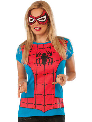 Womens Adult Spider Girl T-Shirt And Mask Set (Womens Spider Girl Kostüme)