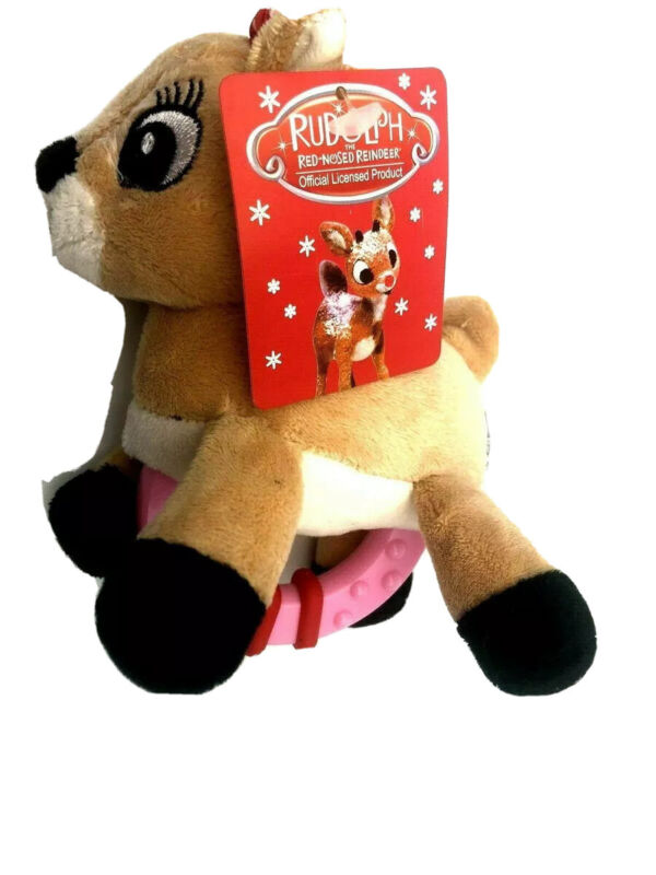 NEW Clarice Rudolph the Red Nosed Reindeer 6 Tall Baby Rattle Plastic Plush