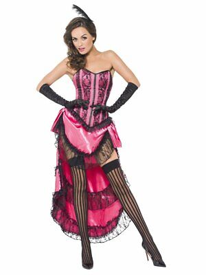 Womens Can Can Diva Costume Halloween Fancy Dress CanCan Dancer Pink Corset S - Can Can Dancer Costumes