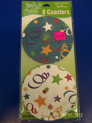 Birthday Stars Streamers Blue White Celebration Party Decoration Paper Coasters