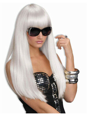 Adult Womens Costume Long White Straight Wig With - Long White Wig With Bangs