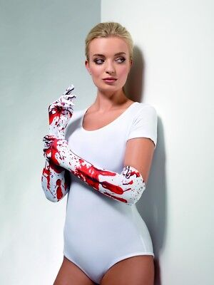 Smi - Kostüm Zubehör Handschuhe Blutspritzer Zombie Braut Halloween ()