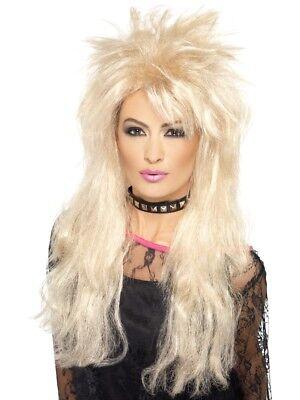 Blond 80's Lang Vokuhila Perücke Erwachsene Damen Smiffys Fancy-Dress Kostüm Neu