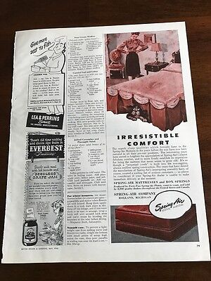 1946 VINTAGE 5X12 PRINT Ad SPRING-AIR MATTRESSES BOXSPRINGS A DOG UNDER THE BED