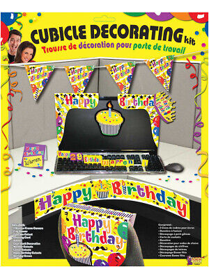 Adult's Happy Birthday Work Desk Cubicle Office Yellow Decorating Kit