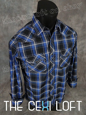 Heritage Plaid Shirt - Mens WESTERN HERITAGE Snap-Up Shirt Black & Blue Shaded Plaid ROAR with Class!