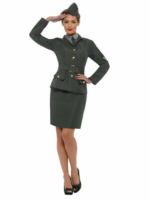 1940s Halloween Costumes (Smiffys WW2 Army Girl Uniform 1940s Skirt Adult Womens Halloween Costume)
