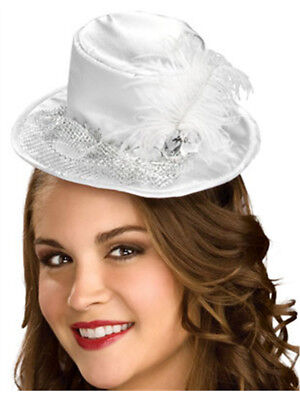 Women Top Hat (Women's Deluxe White Feather Mini Costume Top Hat )