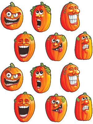 Set Of Wacky Jack-O-Lantern Halloween Themed Sticker Decorations