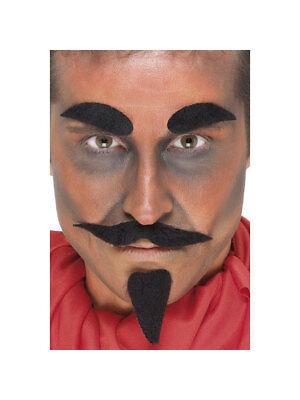 Set Augenbrauen, Schnurrbart und Kinnbart Teufel Schwarz Accessoires Halloween