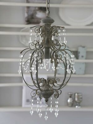 Chic Antique Lámpara Colgante de Techo Araña Cristal Antiguo Gris Shabby