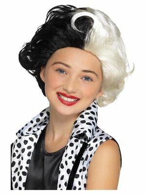 Girl's Evil Madam Cruella De Vil Fancy Dress Wig 101 Dalmatians Kids Party Fun  ](Cruella De Vil Costume Kids)