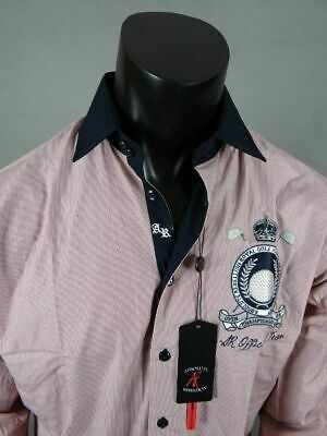 Mens Absolute Rebellion Embroidered Button Front Shirt Grandslam in Red Striped Embroidered Button Front Shirt