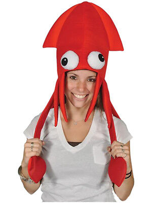 Novelty Red Squid Octopus Hat Costume Party Hat Cap - Red Party Hat