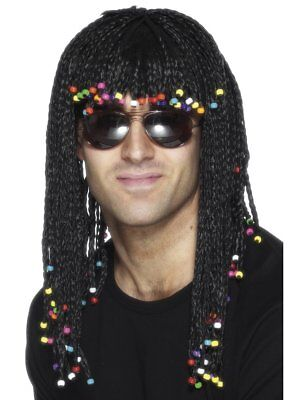 Smiffys Braided Wig Black With Beads Groovy Adult Halloween Costume Wig 42071