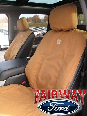 15 thru 19 F-150 OEM Genuine Ford Carhartt Front Captain Chair Seat Covers BROWN ()