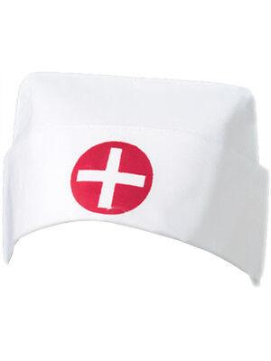 White Cotton Costume Nurse Hat Red Cross Uniform Cap